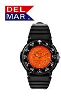 Del Mar Black Plastic Men's Red Dial Watch