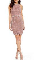 Jodi Kristopher Beaded-Waist Lace Sheath Dress