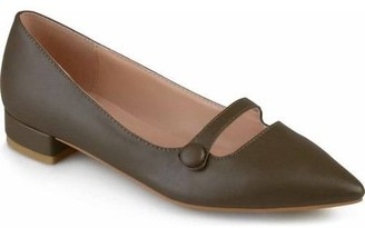 Brinley Co. Womens Pointed Toe Faux Leather Flats