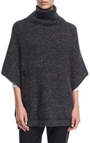 Brunello Cucinelli Wool-Blend Tweed Turtleneck Poncho