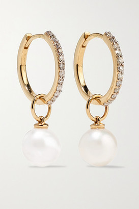 Mateo 14-karat Gold, Diamond And Pearl Hoop Earrings - one size