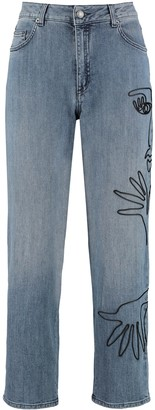 Moschino Embroidered Mum Fit Jeans
