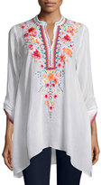 Johnny Was Sable Long-Sleeve Embroidered Tunic