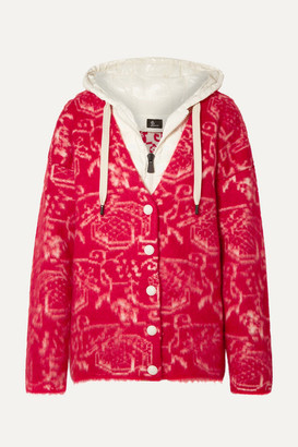 MONCLER GENIUS 3 Moncler Grenoble Hooded Wool-blend Fleece-jacquard And Quilted Shell Cardigan - Red