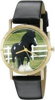 Whimsical Watches Kids' P0110026 Classic Gypsy Vanner Horse Black Leather And Goldtone Photo Watch