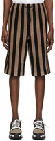Fendi Black and Brown Terry Bermuda Shorts
