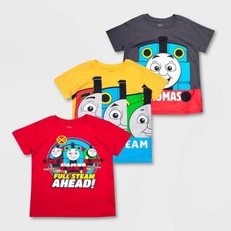 Mattel Toddler Boys' Thomas & Friends 3pk Short Sleeve T-Shirts -Red/Yellow/Gray
