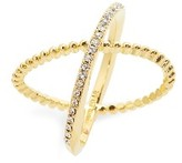 BaubleBar Women's Crystal Crossover Ring