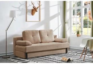 "BEIGE Brayden Studio Tolna Contemporary Convertible Microsuede Sofa Bed 29"" Brayden Studio Fabric Microfiber"