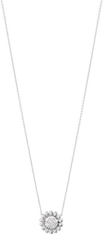 Georg Jensen Sunflower sterling silver and diamond pendant necklace