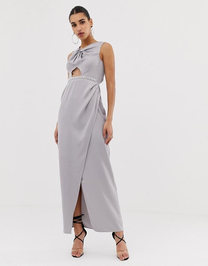 Asos Design DESIGN Pearl Trim Twist Front Maxi Dress-Pink