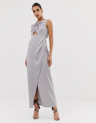 ASOS DESIGN Pearl Trim Twist Front Maxi Dress