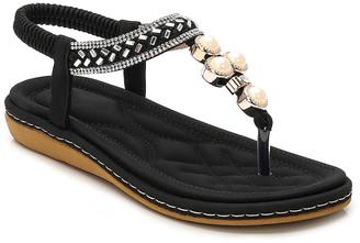Siketu Women's Sandals Black - Black Pearl Metallic Rhinestone Braid T-Strap Sandal - Women