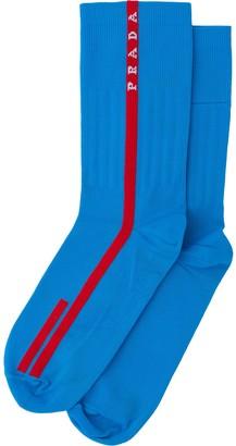 Prada Linea Rossa intarsia logo socks