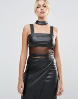 Daisy Street Faux Leather Crop Top With Mesh Insert