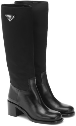 Prada Nylon and leather knee-high boots