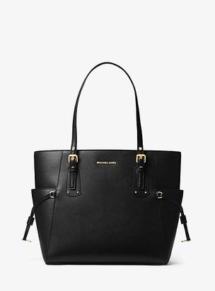 MICHAEL Michael Kors MK Voyager Small Crossgrain Leather Tote Bag - Black - Michael Kors