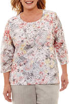 Alfred Dunner Lakeshore Drive Floral Lace Print Tee-Plus