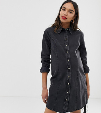 ASOS DESIGN Maternity denim fitted western shirt dress in washed black