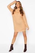 boohoo Knitted Cowl Neck Jumper Dress