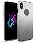 Shinning Slim Scratch Resistant Luxury Thin Painted Ultra-Thin Glitter TPU+PC Case Cover for iPhone X (2017) (Black)