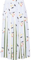 Suno Grosgrain-Paneled Printed Silk Crepe De Chine Midi Skirt