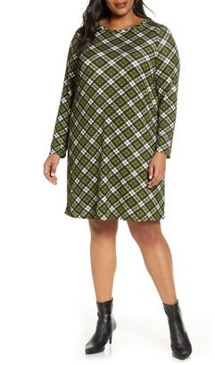 MICHAEL Michael Kors Plaid Long Sleeve Shift Dress