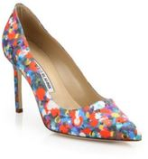 Manolo Blahnik BB Multicolor Satin Point-Toe Pumps
