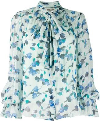Diane von Furstenberg floral bow tie shirt