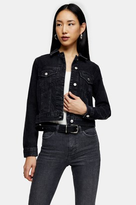 Topshop Womens Slim Fit Washed Black Denim Jacket - Washed Black