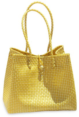 Brunna.Co Toko Recycled Tote Bag In Mustard Yellow & White