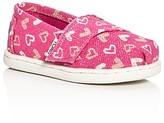 Toms Girls' Seasonal Classic Glitter Heart Slip On Sneakers - Baby, Walker, Toddler
