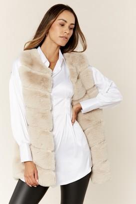 Gini London Stone Diagonal Cut Sleeveless Faux Fur Gilet
