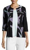 Misook Graphic Petal 3/4-Sleeve Jacket, Petite