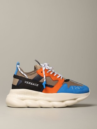 Versace Chain Reaction Sneakers In Nubuck And Mesh