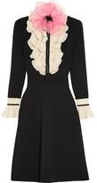 Gucci Organza-embellished Ruffled Wool Mini Dress - Black