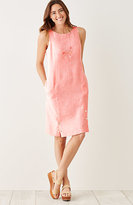 J. Jill Yarn-Dyed Linen Buttoned-Hem Dress