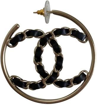 Chanel Black Leather Earrings