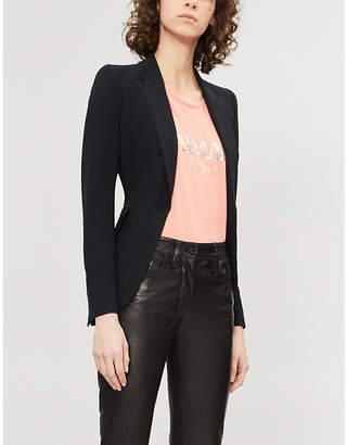 Balmain Ladies Coral Pink Metallic Logo-Print Cotton-Jersey Top