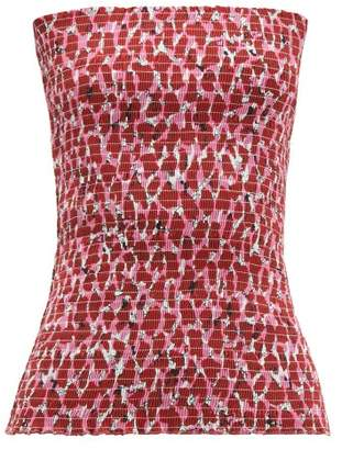 Raey Shirred Lipstick-print Cotton Bandeau Top - Womens - Pink Print