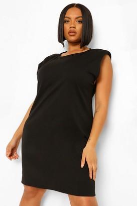 boohoo Plus Shoulder Pad Shift Dress