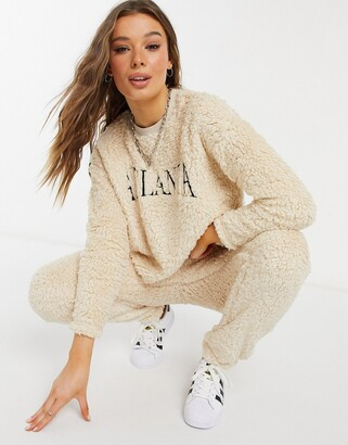New Look co ord teddy jogger in cream