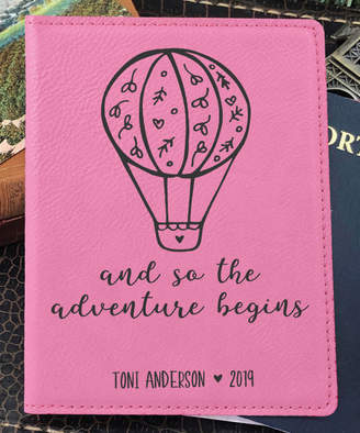 Stamp Out Online Passport Holders Pink - Pink 'Adventure Begins' Personalized Passport Cover