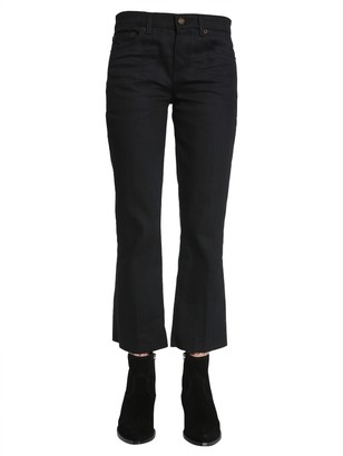 Saint Laurent Cropped Raw Edge Jeans