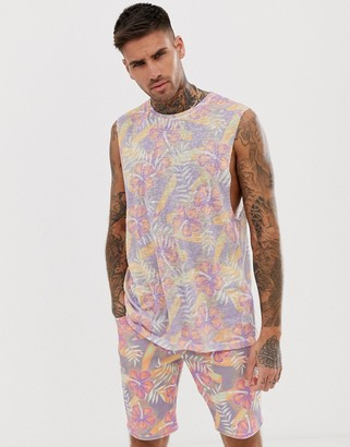 Asos Design DESIGN co-ord all over floral print vest with dropped armhole in linen look-Multi