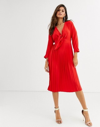 ASOS DESIGN pleated tie front midi dress in red