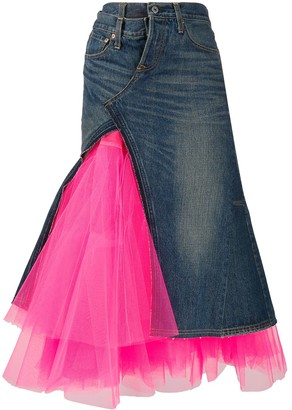 Junya Watanabe Layered Mesh Flared Skirt