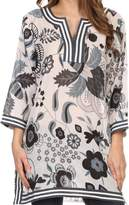 Sakkas 164021 - Abril Long Sleeve Cotton Tunic Blouse Top With Printed Floral Pattern - L