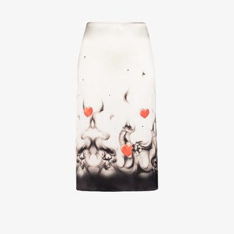 Ashley Williams Printed Hem Silk Slip Skirt