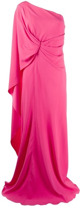 Alberta Ferretti Pleated One-Shoulder Gown